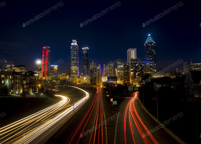 Traffic flowing into Atlanta at night