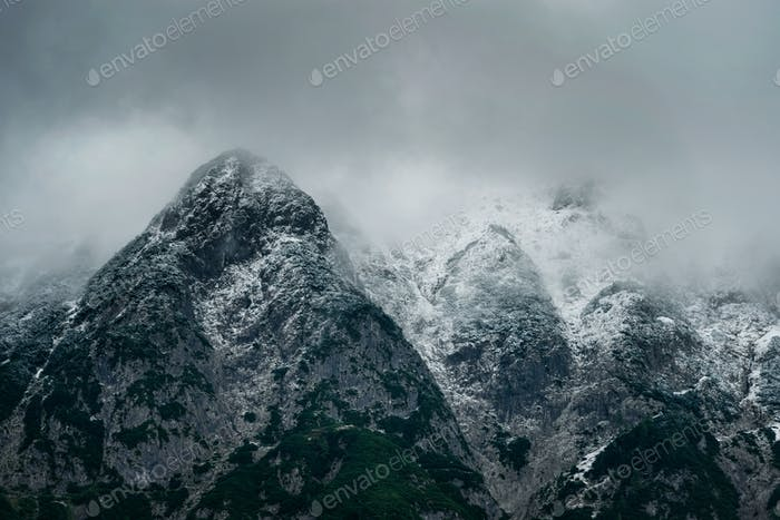 Wetterstein mountain view during winter evening. Snowy peaks of