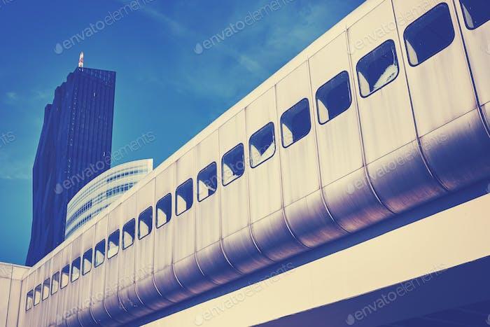 Color toned futuristic Vienna city train infrastructure.