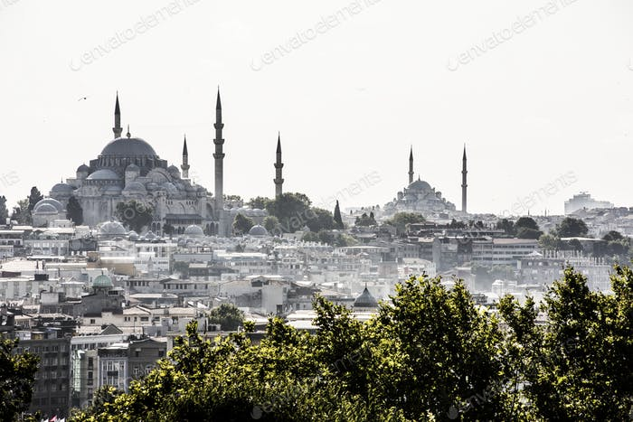 Istanbul cityscape featuring Hagia Sophia and Blue Mosque