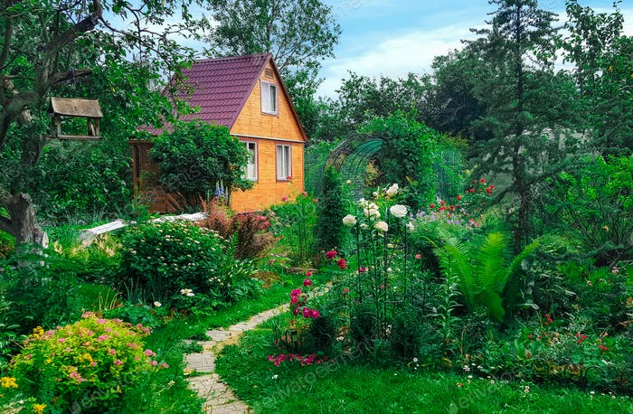 Summer wooden house on background of green garden,