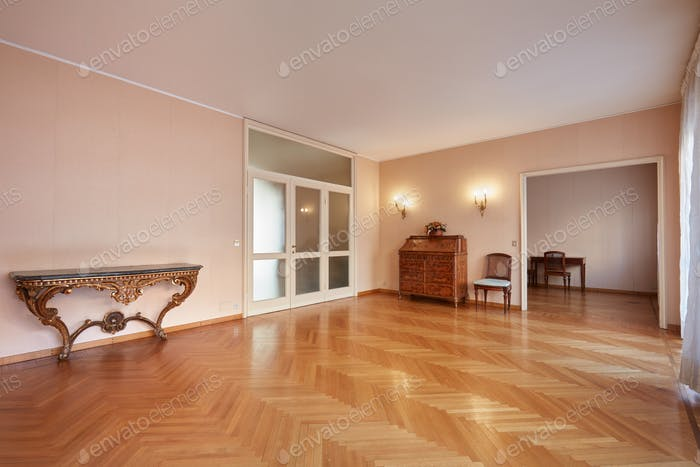 Large room with antiquities in apartment interior