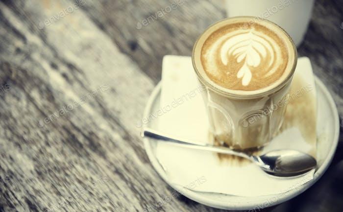 Kaffee Koffein Getränk Getränk Cafe Latte Art Concept