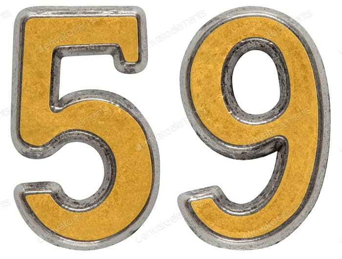 Metal numeral 59, fifty-nine, isolated on white background