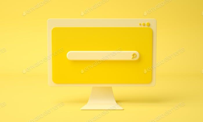 Página web de la barra de búsqueda en la pantalla de la computadora de dibujos animados, fondo amarillo.
