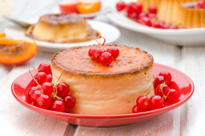 scene of cheesecake and red currants on plate