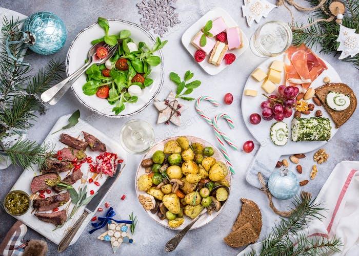 Christmas themed dinner table