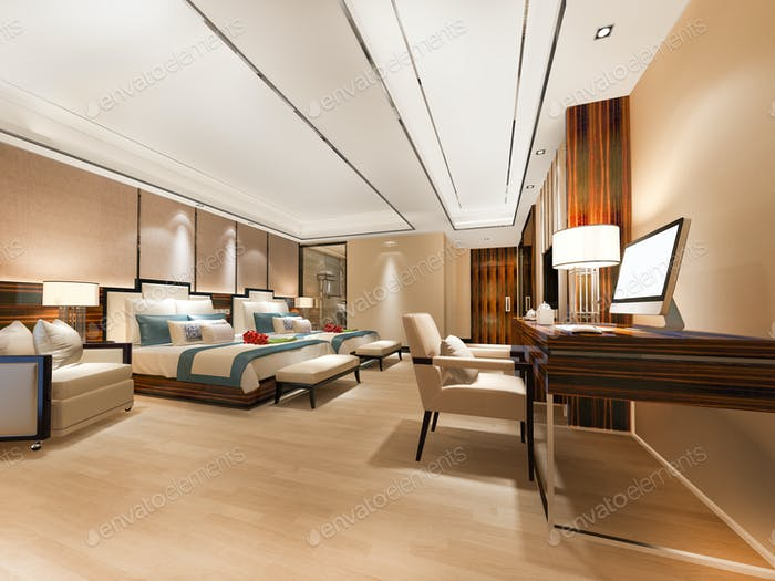3d rendering luxury bedroom suite with working table and twin bed
