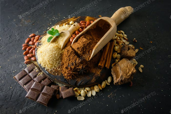 Cocoa powder, chocolate, nuts and spices