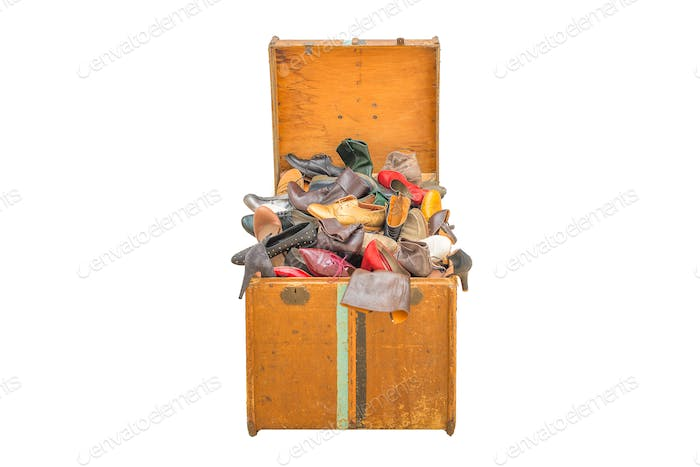 Large trunk with many different types shoes
