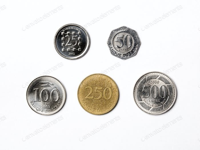 Lebanese coins on a white background
