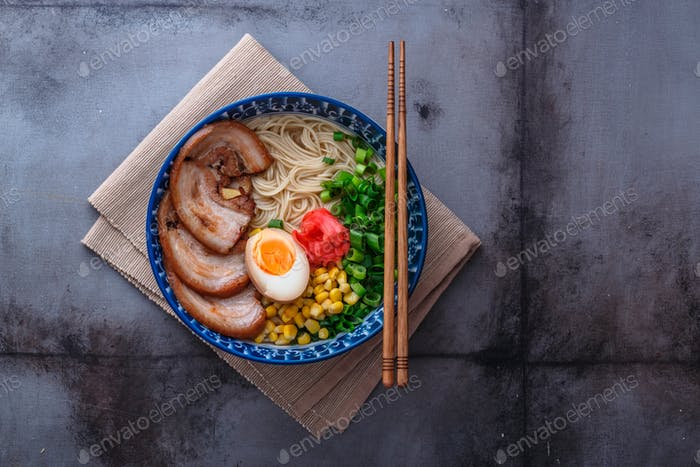 Delicious tonkotsu ramen, pork bone broth noodles, copy space