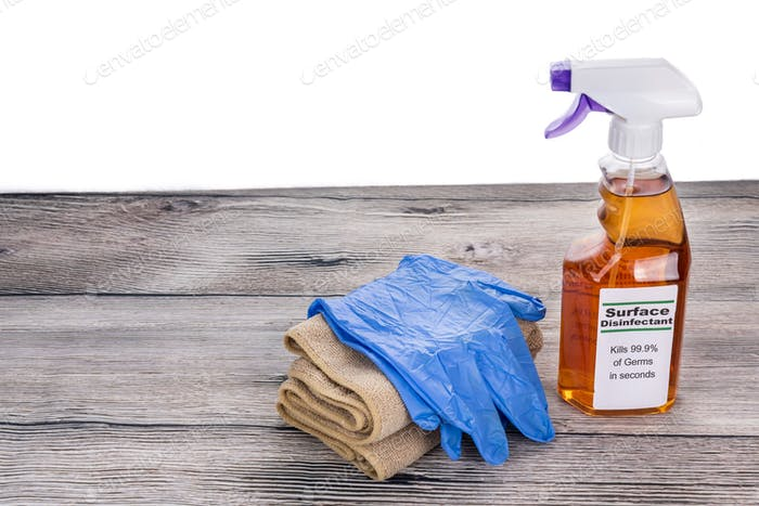 Surface disinfectant spray with gloves and cloth, tools for instant sanitization against germs