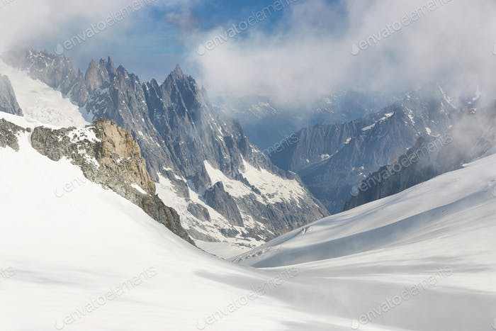 Panorama of Mont Blanc Massif, the highest and popular mountain in Europe northwestern Italy.