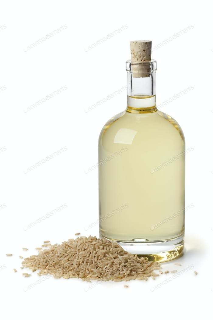 Rice bran oil in a bottle