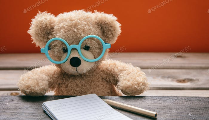 Cute teddy wearing glasses doing homework. Back to school