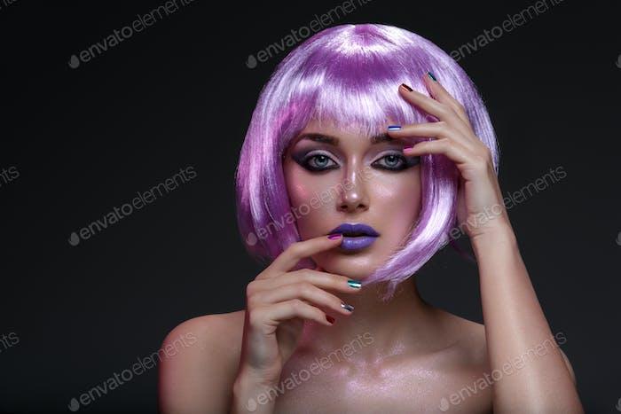 Beautiful girl in purple wig