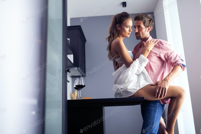Sensual photo of a young romantic couple