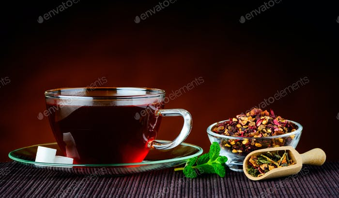 Traditional Cup of Red Tea with Ingredients