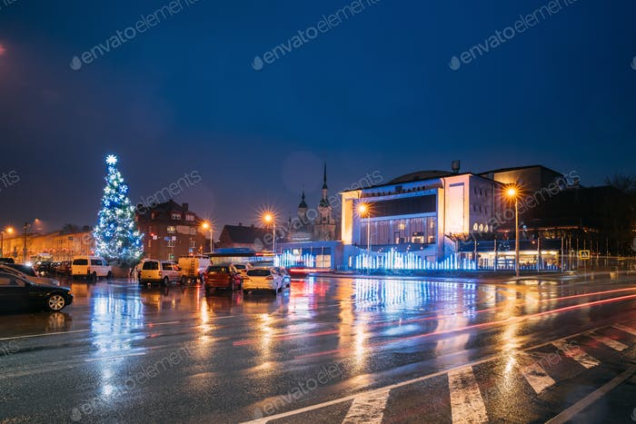 Parnu, Estonia. Endla Theatre, Christmas Tree And Endla Theater