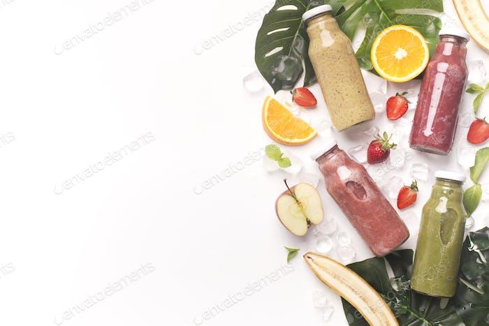 Fresh fruit detox cocktails on white background