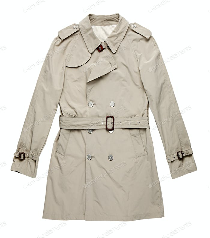 Isolated image of single off white raincoat