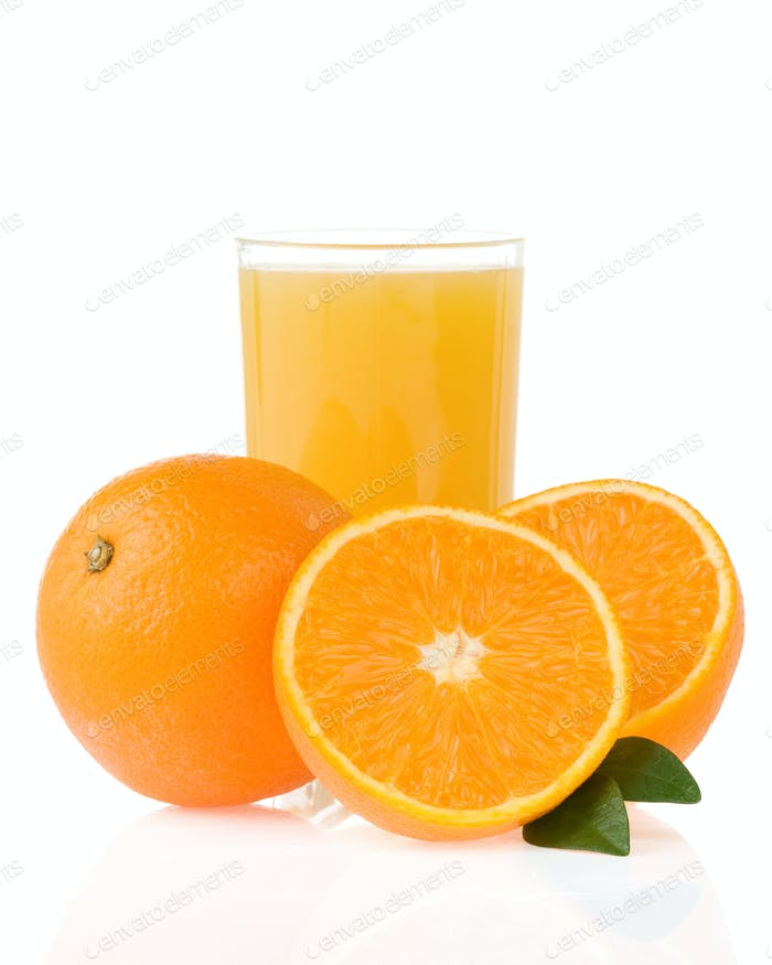 juice and oranges on white