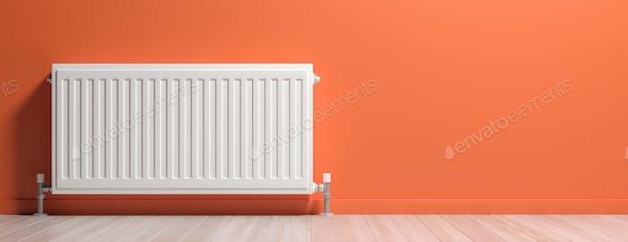 Radiator, wood floor, orange wall background, banner. 3d illustration