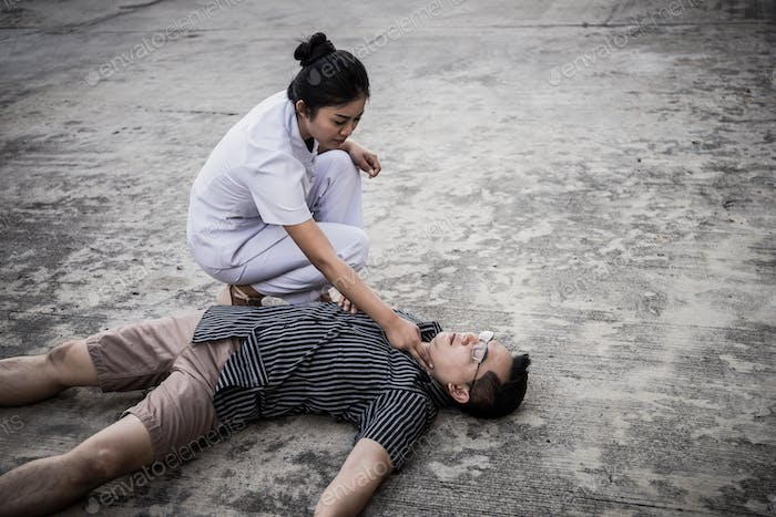 Emergency CPR on a Man, Nurse try to Process Resuscitation (First Aid)