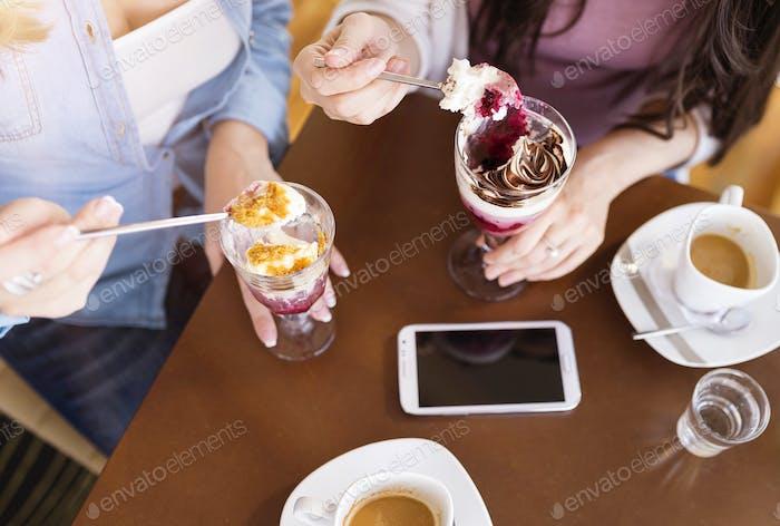 Beautiful women in cafe