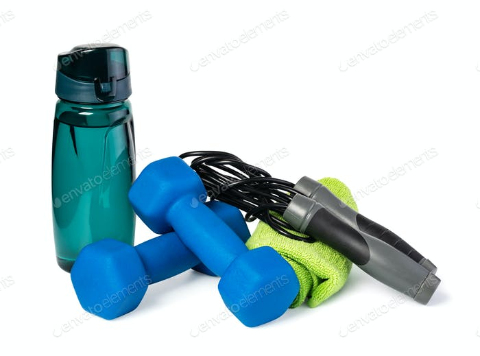 dumbbells, Sports Bottle and Jumping rope