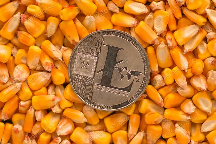 Litecoin on top of corn kernels heap