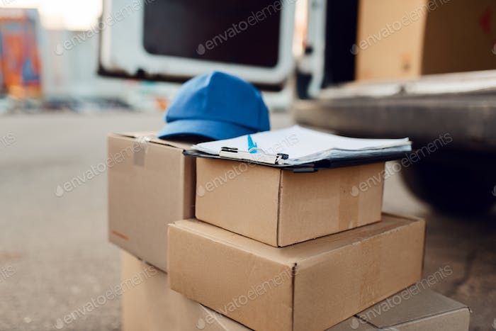 Parcel boxes and cap, delivery service concept
