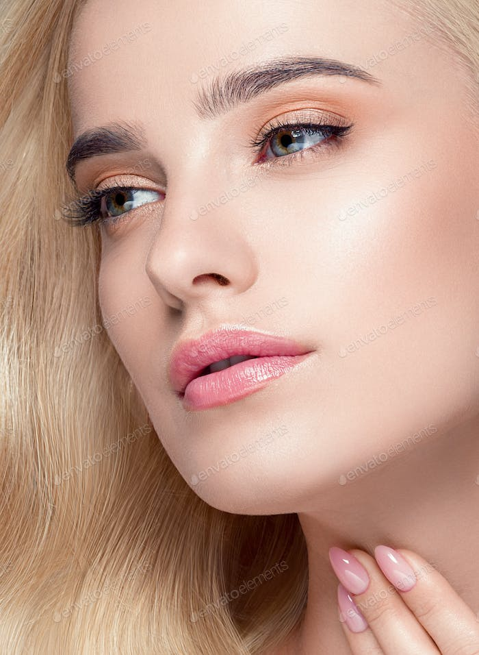 Blonde hair glamour woman natural beauty
