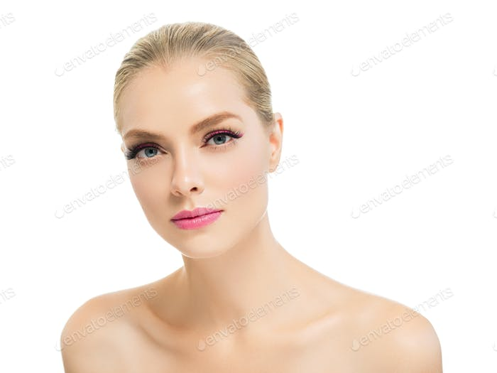 Woman beauty clean skin portrait lashes e[tension beautiful eyes face