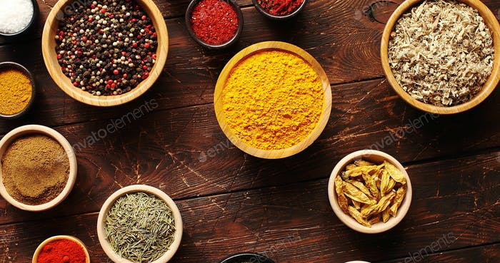 Composition of spices in bowls