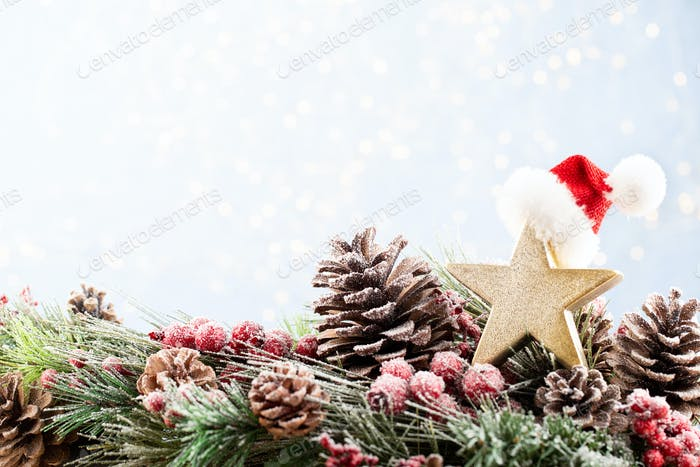 Christmas and New Year holidays bokeh background.