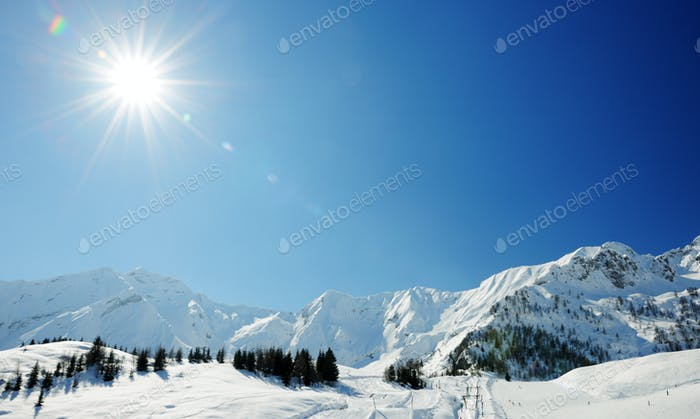 sunny day in winter alps