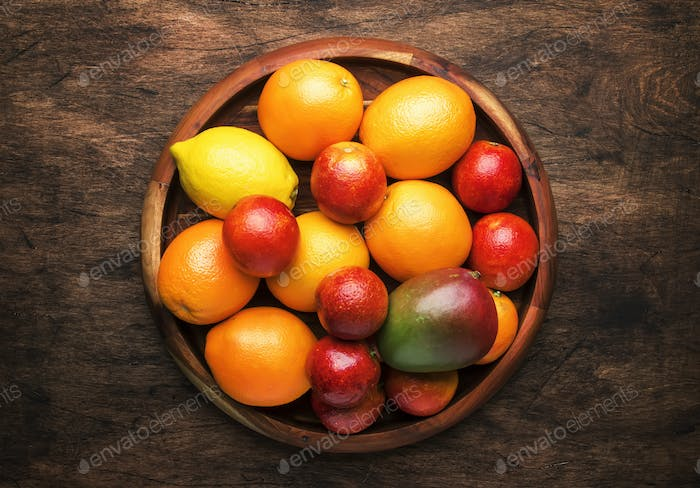 Bright fruits in large tray