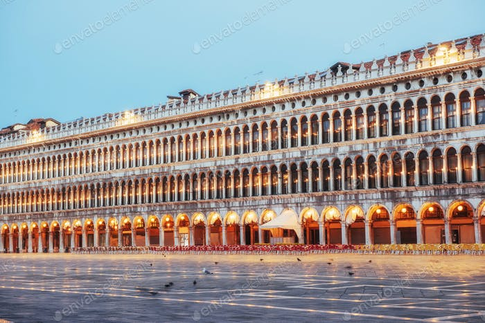 The night scene of San Marco square, Venice Italy