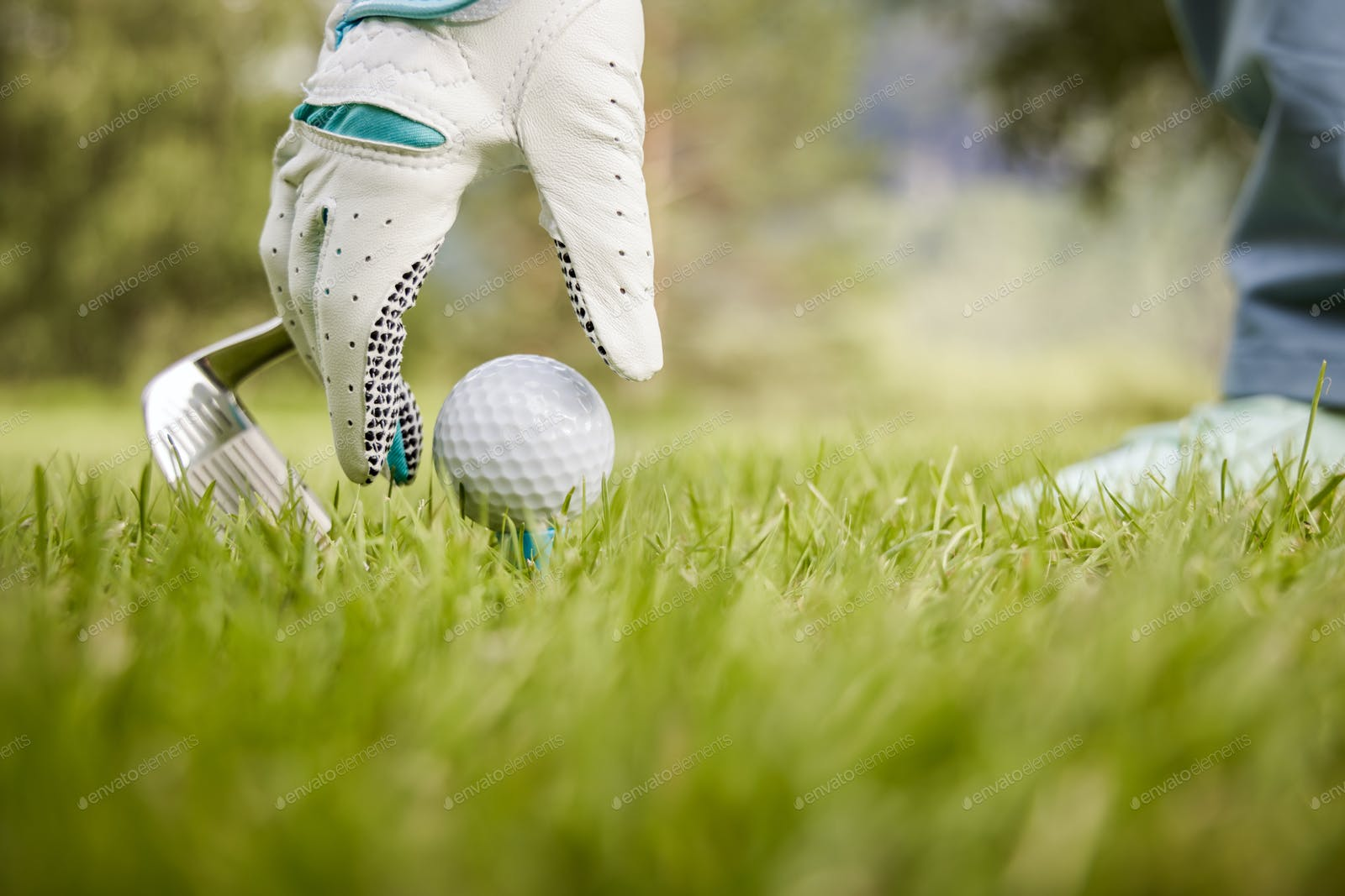 Hand In Glove Placing Golf Ball On Tee Photo By Cookelma On Envato Elements