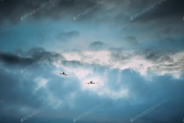 Old Planes Aircraft Airplanes Flying In Cloudy Sky
