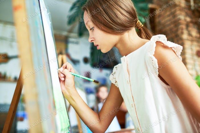 Talented Girl in Art Class