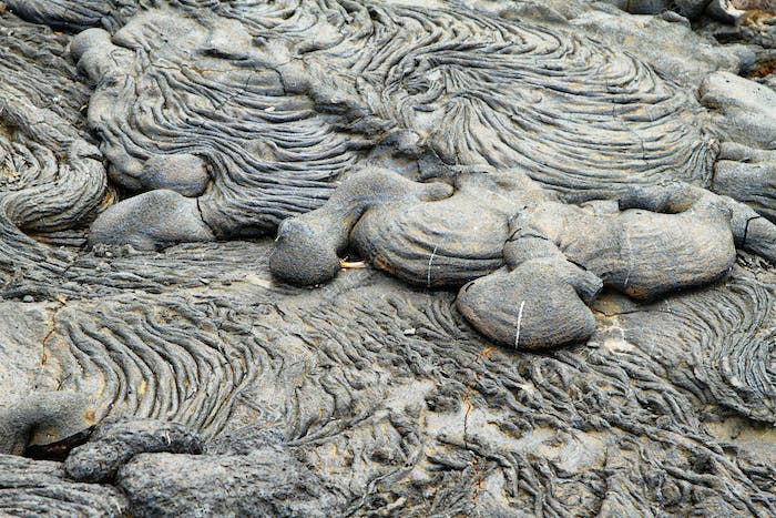 Textures of black lava (pahoehoe) in Santiago island