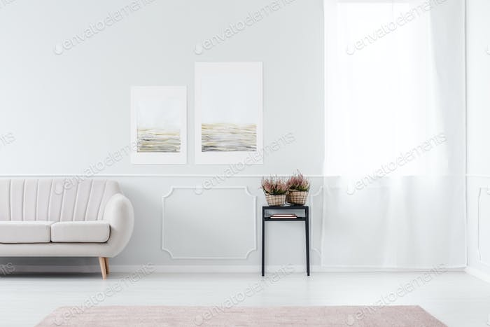 Posters in living room interior