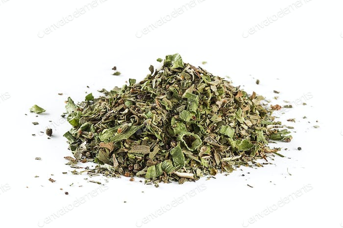 mixed Italian herb seasoning on a white background