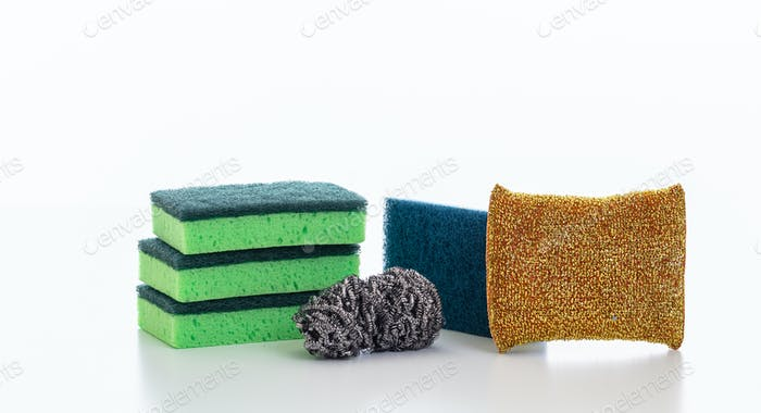 Cleaning sponges variety isolated against white background.