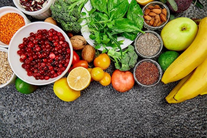 Selection of Best High Alkaline Foods. Vegan.
