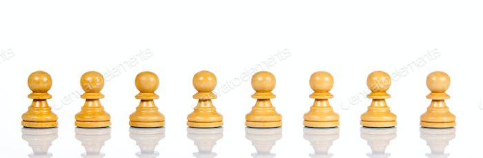 Wooden chess. Set of chess figures. Chess pieces isolated on  wh