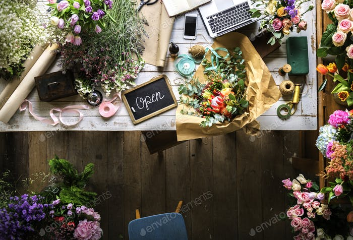 Beautiful Fresh Flowers Flora Shop Work Space Business